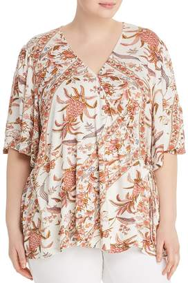 Lucky Brand Plus Printed Wrap Top
