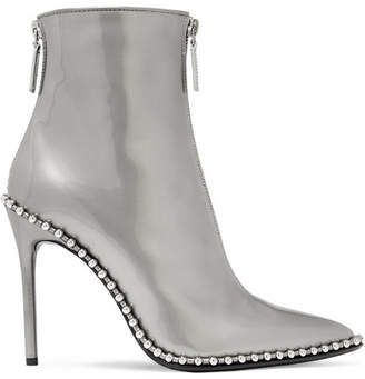 Alexander Wang Eri Studded Metallic Patent-leather Ankle Boots - Silver