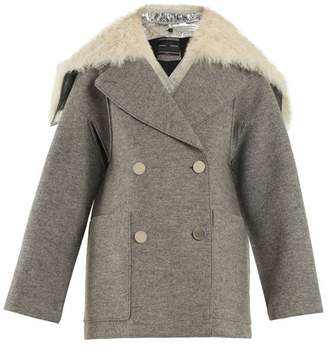 Proenza Schouler Faux Fur Trimmed Detachable Collar Wool Coat - Womens - Light Grey