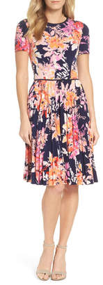 Maggy London Pleat Fit & Flare Dress
