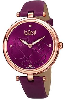 Burgi Women's BUR151BUR Rose Gold Quartz Watch With Burgundy Diamond Dial And Burgundy Leather Strap