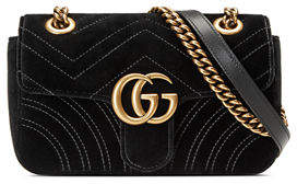 Gucci GG Marmont 2.0 Small Quilted Velvet Crossbody Bag $1,590 thestylecure.com