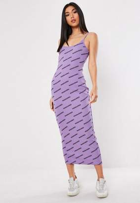 Missguided Purple Graphic Rib Bodycon Midi Dress