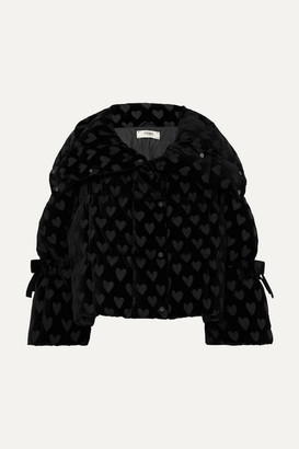 Fendi Velvet-jacquard Quilted Down Jacket - Black