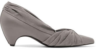 Stella McCartney Knotted Faux Leather And Suede Pumps - Gray