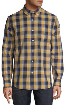 ST. JOHN'S BAY Mens Long Sleeve Plaid Button-Front Shirt