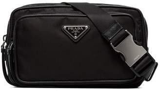 Prada black logo two pocket belt bag