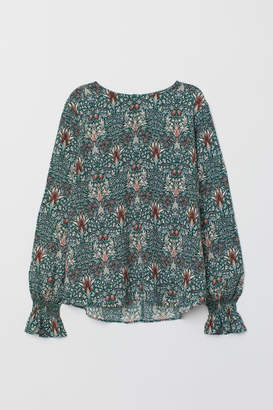H&M Blouse with Smocking - Blue