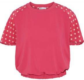 RED Valentino Polka-Dot Silk-Paneled Knitted Sweater