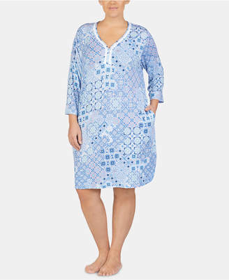 Ellen Tracy Plus-Size Printed Tunic Nightgown