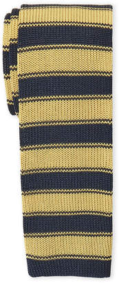 Tommy Hilfiger Yellow Overlay Striped Knit Silk Tie