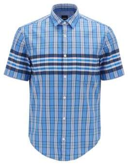 f4d08fd5 BOSS Regular-fit shirt in Glen-checked dobby cotton