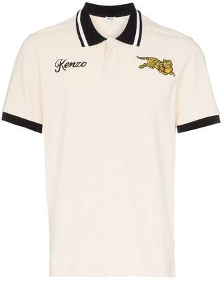 Kenzo embroidered jumping tiger contrast trim cotton polo shirt