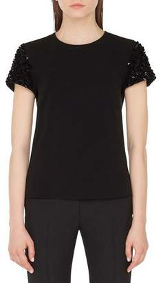 Akris Punto 3-D Sequined-Sleeve Crewneck Tee