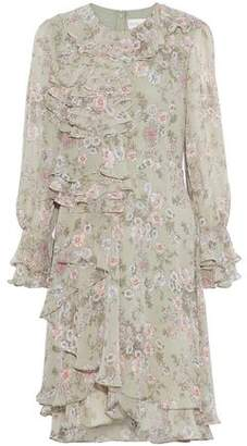 Mikael Aghal Ruffled Floral-Print Chiffon Dress