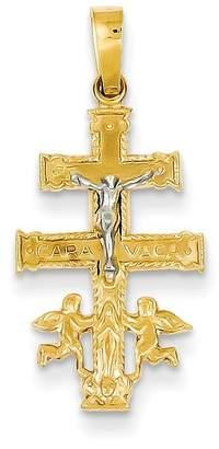 Cara goldia 14k Two-tone Gold Vaca Crucifix Pendant