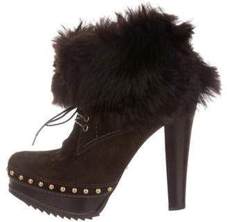 Prada Suede Fur-Trimmed Ankle Boots