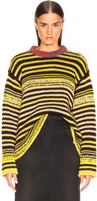 Calvin Klein Striped Wool Crewneck Sweater in Brown, Yellow & Pink | FWRD