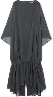Jacquemus Gadir Asymmetric Gathered Gauze Midi Dress - Charcoal