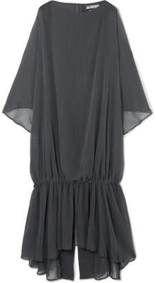 Jacquemus Gadir Asymmetric Gathered Gauze Midi Dress - Charcoal