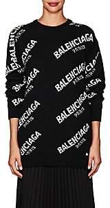 Balenciaga Women's Logo Oversized Wool-Blend Sweater - White