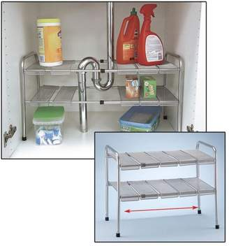 "AllTopBargains 2 Tier Expandable Under The Sink Shelf - 18""-30"" x 11.5"" x 15"" Bathroom Kitchen"