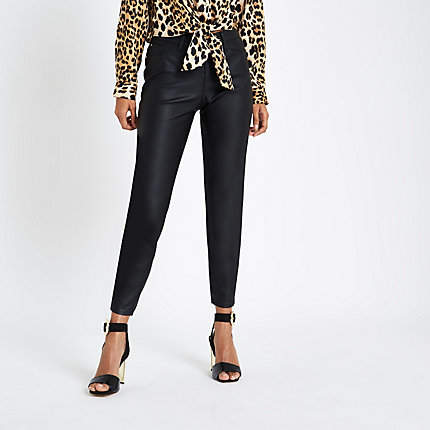 Womens Petite Black coated Molly jeggings