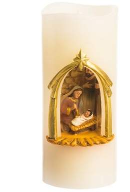 The Holiday Aisle Wholesale Battery Operated LED Wax Holy Family Pillar Unscented Flameless Candle