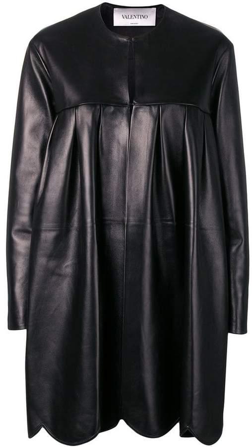 scalloped leather coat