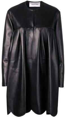 Valentino scalloped leather coat