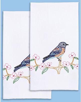 "Jack Dempsey Stamped Decorative Hand Towel Pair 17""X28""-Bluebird"
