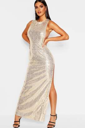 boohoo Sequin Open Side Maxi Dress