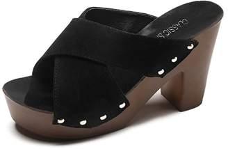 SUNNY Store Womens Girls Ladies Platform Flip Flops Wedge Sandals Handmade Flowers Slippers Thong Sandals(-)
