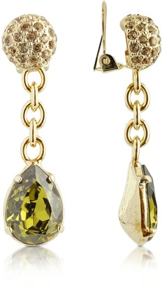 A-Z Collection Green Clip-On Drop Earrings