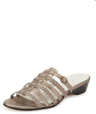 Sesto Meucci Greer Strappy Woven Sandal, Pewter $250 thestylecure.com