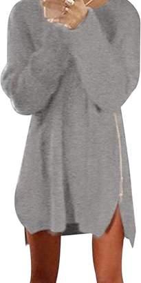 Bai You Mei Women's Side Zip Solid Color Knit Sweater Casual Sweatshirts Dress 2XL