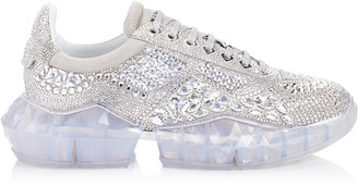 Jimmy Choo DIAMOND/M Crystal Shimmer Suede Trainers with Crystal Application and Chunky Platform