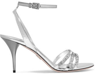 Prada Crystal-embellished Metallic Leather Sandals - Silver
