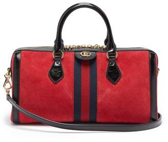 Gucci Ophidia Boston Suede Bowling Bag - Womens - Black Red