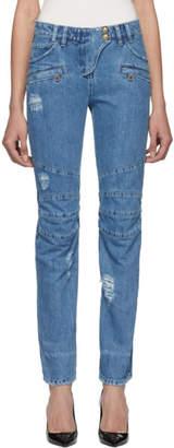 Balmain Blue Straight Fit Biker Jeans