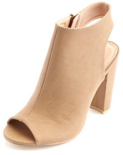 Charlotte Russe Peep Toe Slingback Chunky Heels