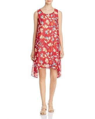 Donna Karan Floral Sharkbite-Hem Shift Dress