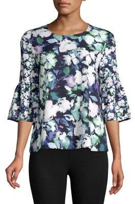 French Connection Dreda Bell-Sleeve Crepe Top
