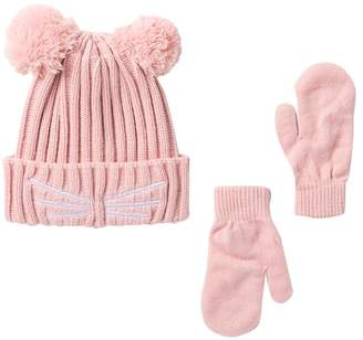 Harper Canyon Cat Pom Hat & Mittens Set