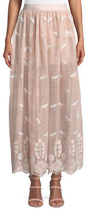 Miguelina Paris Dragonfly Scallop Lace A-Line Skirt