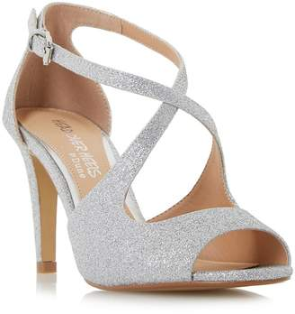 Head Over Heels by Dune - Silver Glitter 'Carrmen' High Stiletto Heel Peep Toe Sandals
