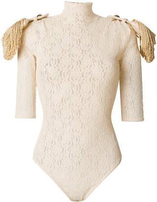 Nina Ricci fringed epaulette lace body