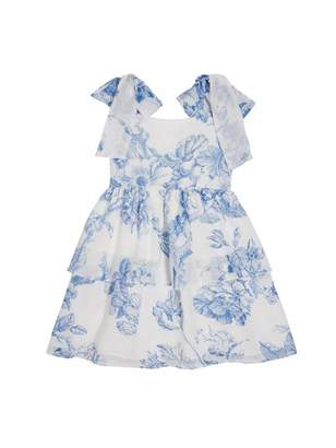 Oscar de la Renta Tiered Toile de Jouy Silk-Chiffon Dress
