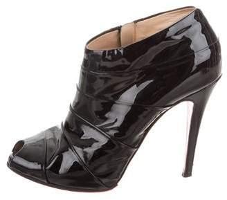 Christian Louboutin Patent Leather Peep-Toe Booties