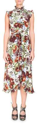 Erdem Mock-Neck Sleeveless A-Line Midi Dress with Ruffled Trim